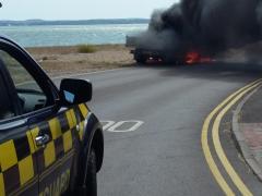 Coastguard at vehicle fire
