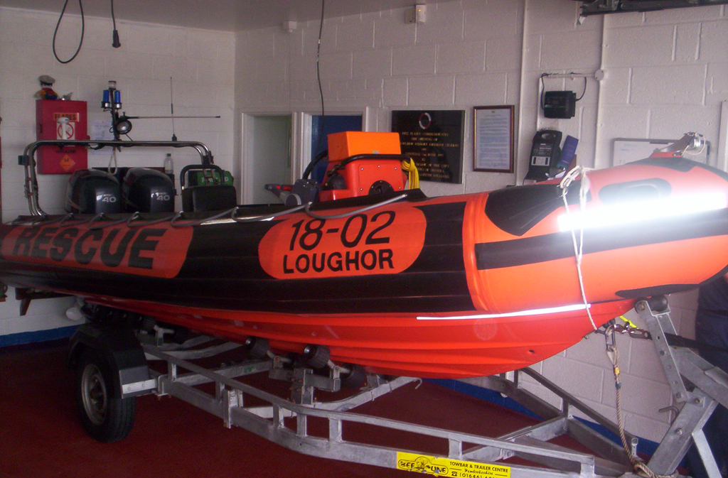 Loughor Lifeboat inside the boathouse