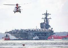 Hillhead CRT Rescue 175 Training - USS George Bush Behind in the Solent